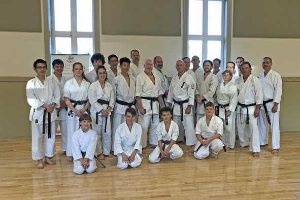Frank Pelny in teaching Karate and Kobudo at seminars in Canada